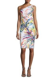 David Meister One-Shoulder Sequined Abstract-Print Cocktail Dress