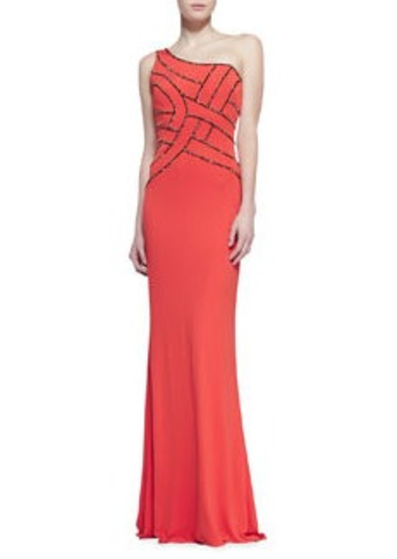 David Meister One-Shoulder Sequined Bodice Gown