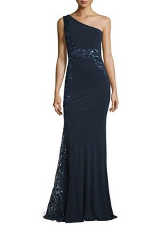David Meister One-Shoulder Sequined Embroidered Gown