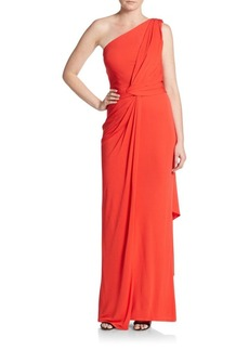 David Meister One Shoulder Solid Draped Gown