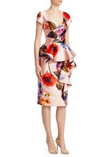 David Meister Peplum Floral Cocktail Dress