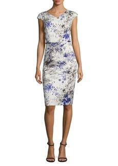 David Meister Printed Cotton Sheath Dress