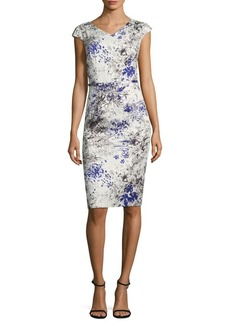 David Meister Printed Cotton Sheath Dress