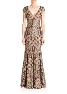 David Meister Printed Fit-&-Flare Gown