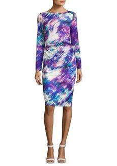 David Meister Printed Long-Sleeve Dress