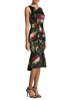David Meister Printed Sleeveless Midi Dress