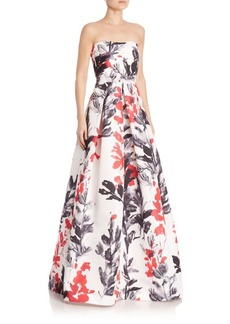 David Meister Printed Strapless Dress