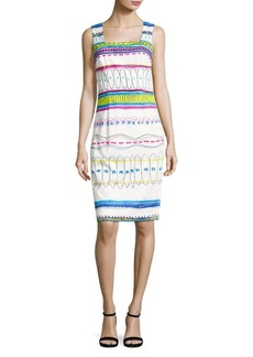 David Meister Printed Stretch-Cotton Sheath Dress