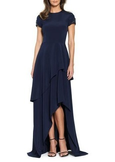 David Meister Ruffle-Tiered Short Sleeve Evening Gown