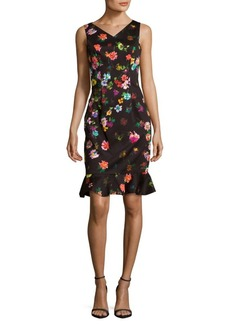 David Meister Ruffled Floral Sheath Dress