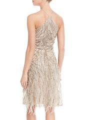 David Meister Sequin & Feather Halter Cocktail Dress