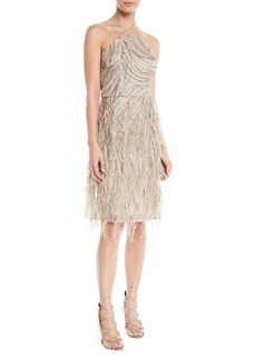 Sequin & Feather Halter Cocktail Dress