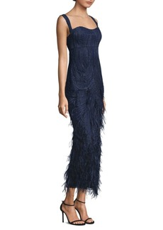 David Meister Sequin Feather Gown
