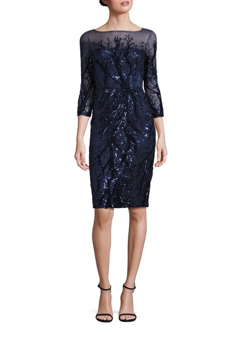 David Meister Sequin Illusion Sheath Dress