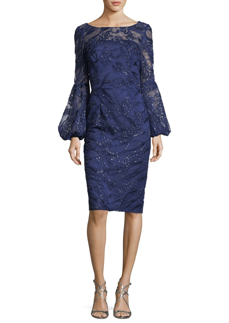 David Meister Sequin Lace Bell-Sleeve Dress