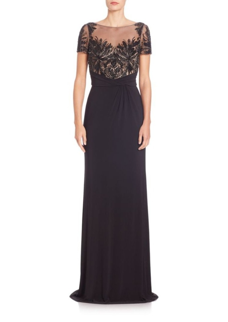 David Meister Sequined-Bodice Draped Gown