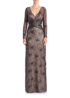 David Meister Sequined Faux-Wrap Gown