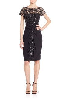 David Meister Sequined Lace & Jersey Dress