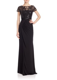 David Meister Sequined Lace & Jersey Gown