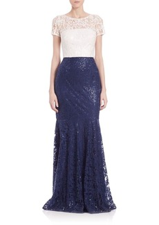 David Meister Sequined Lace Two-Tone Gown