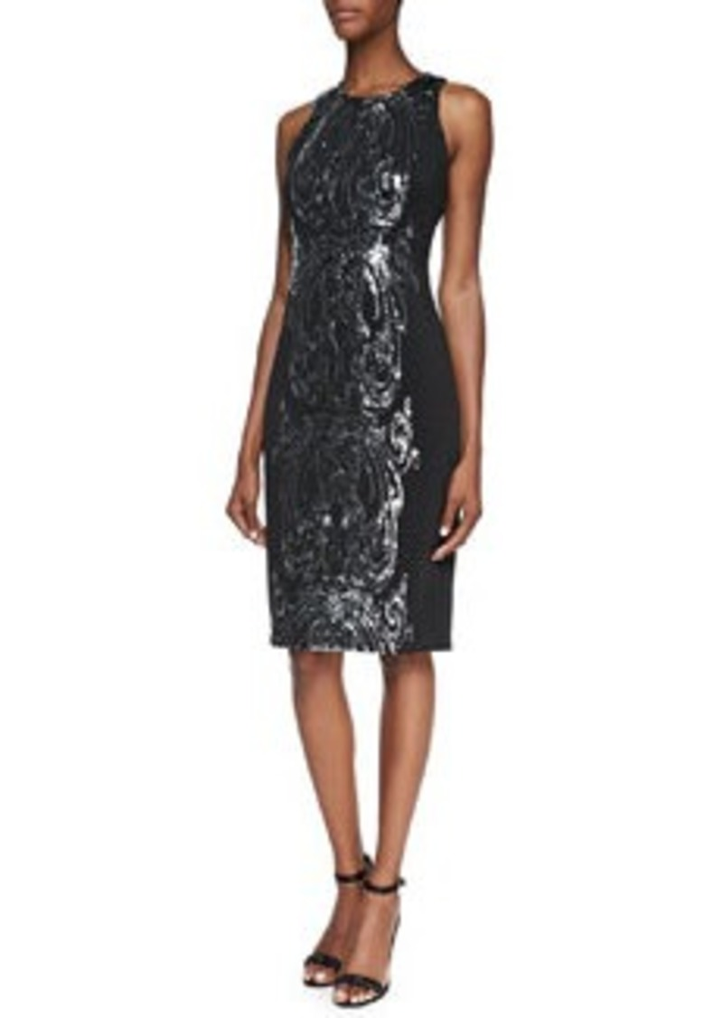 David Meister Sequined Panel Cocktail Dress, Black/Silver