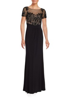 David Meister Sequined Short Sleeve Gown