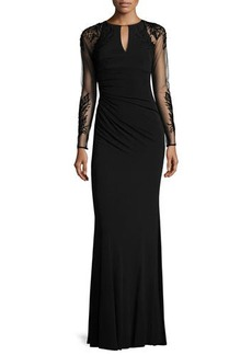 David Meister Sheer-Sleeve Jersey Column Gown