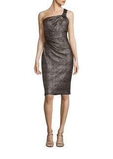 David Meister Shimmering Asymmetrical Neck Dress
