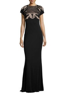David Meister Short-Sleeve Acanthus Jersey Gown