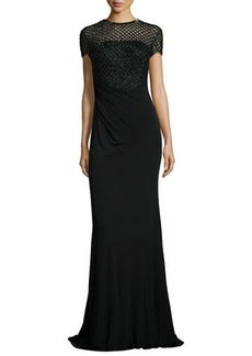 David Meister Short-Sleeve Beaded Bodice Gown