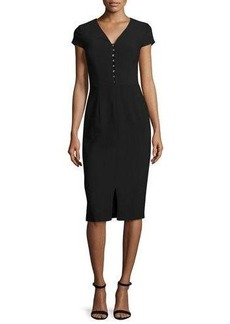 David Meister Short-Sleeve Crepe Sheath Dress