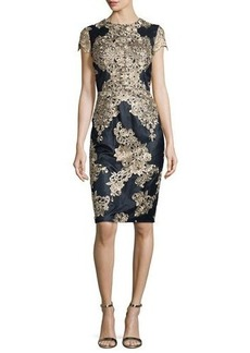 David Meister Short-Sleeve Embroidered Cocktail Dress