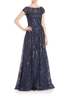 David Meister Short Sleeve Embroidered Sequin Gown