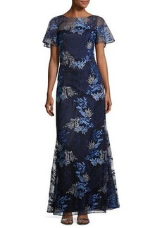David Meister Short-Sleeve Embroidered Tulle Gown