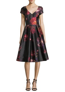 Short-Sleeve Floral-Brocade Cocktail Dress w/ Jeweled Embellishments