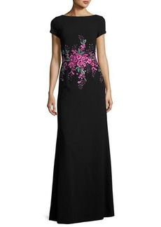 David Meister Short-Sleeve Floral Embellished Gown