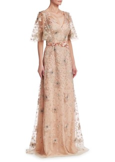 David Meister Short Sleeve Floral Embellished Gown