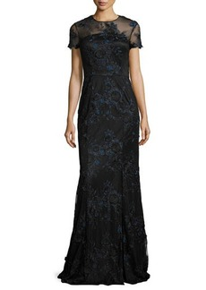 David Meister Short-Sleeve Floral Embroidered Illusion Gown