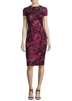 David Meister Short-Sleeve Floral Embroidered Sheath Dress