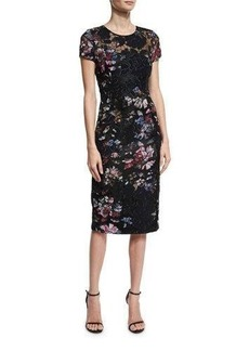 David Meister Short-Sleeve Floral Embroidered Sheath Dress