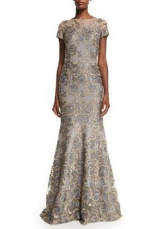 David Meister Short-Sleeve Floral Jacquard Mermaid Gown