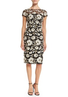 David Meister Short-Sleeve Floral Jacquard Sheath Cocktail Dress