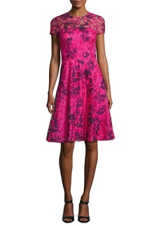 David Meister Short-Sleeve Floral Lace Cocktail Dress