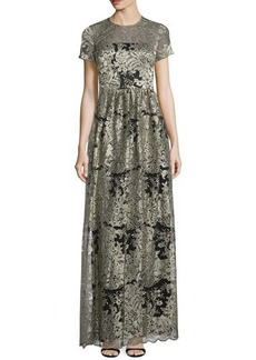 David Meister Short-Sleeve Floral Lace Gown