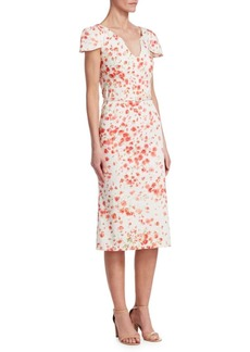 David Meister Short Sleeve Floral Print Belt Dress