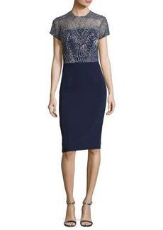 David Meister Short-Sleeve Georgette Metallic Cocktail Dress