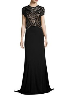 David Meister Short-Sleeve Jersey Gown w/ Sequined Geometric Detailing