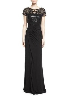 David Meister Short-Sleeve Lace-Bodice Ruched Gown
