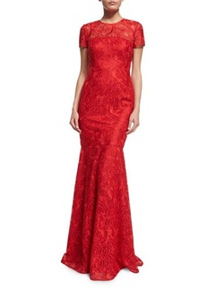 David Meister Short-Sleeve Lace Mermaid Gown