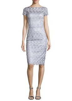 David Meister Short-Sleeve Lace Sheath Cocktail Dress